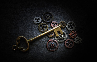 Gears and antique key
