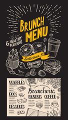 Brunch restaurant menu. Vector food flyer for bar and cafe. Design template with vintage hand-drawn illustrations on chalkboard background.