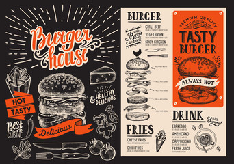 Burger menu. Vector food flyer for restaurant and cafe. Design template with vintage hand-drawn illustrations.