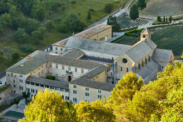 Senanque Abbey or Abbaye Notre-Dame de Senanque with lavender fields.aeriel view