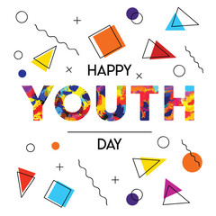 Happy Youth Day abstract retro background card