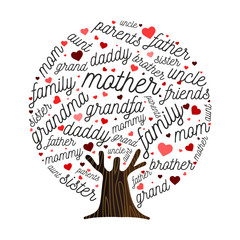 Family tree made of love heart shape concept