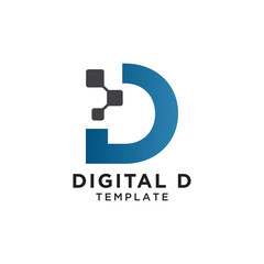 Letter d pixels logo initial design template