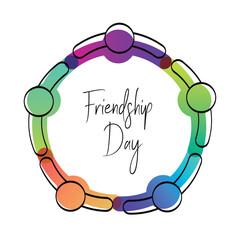 Happy friendship day card of friend group hug
