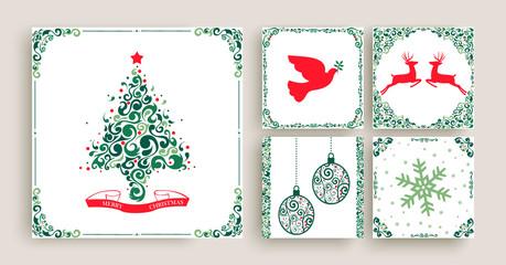 Vintage Christmas decoration greeting card set
