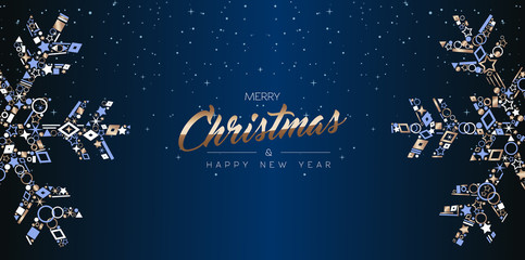 Christmas web banner luxury card of snowflakes