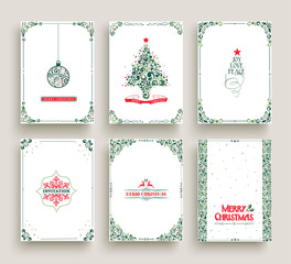 Merry Christmas card set template in vintage style