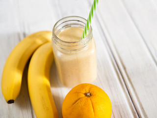 Banana smoothie in a jar