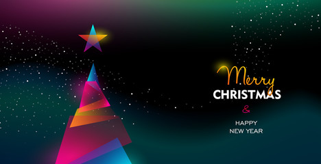 Wall Mural - Christmas and New Year glow gradient tree card