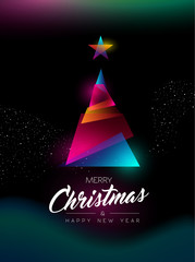 Merry Christmas glow gradient tree greeting card