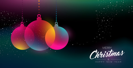 Wall Mural - Christmas and New Year glow decoration card