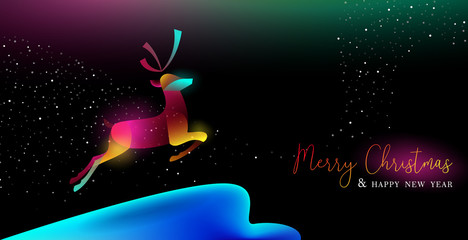 Wall Mural - Christmas and New Year glow gradient deer card