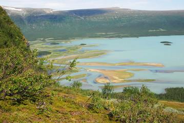 Rapaätno river delta. Jokkmokk, Norrbotten, Sweden