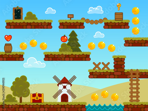 Platformer Game Assets  Contains ground tiles and many items