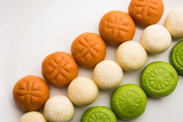 Sweet Tiranga Peda or pedha or Indian tricolour Pera is a mithai prepared for Independence or republic day greeting