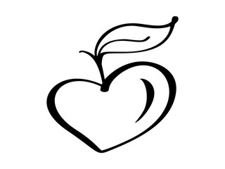 Vegan growth tree love heart logo vector illustration icon, food design. Handwritten lettering for restaurant, cafe raw menu. Calligraphic and typographic collection