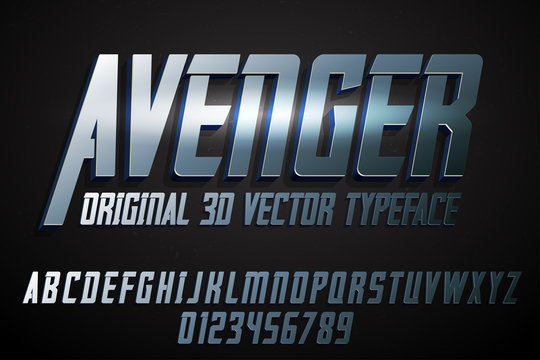 Strong label typeface with vector 3d extrude effect