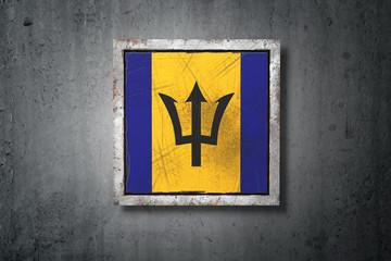 Barbados flag in concrete wall