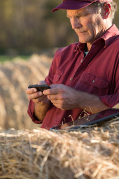 Farmer using tablet and texting on mobile phone