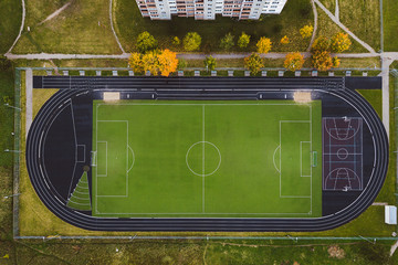 Empty stadium, drone aerial view