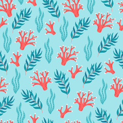 Ocean seamless pattern with corals and seaweeds