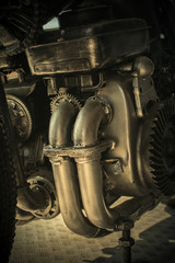 Close-up gears of old engine