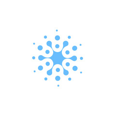 Blue abstract round shape from circles, universal logo template. Isolated icon, vector illustration on white background.
