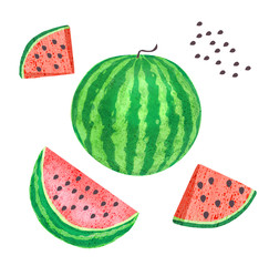Whole watermelon, slices of watermelon with seeds