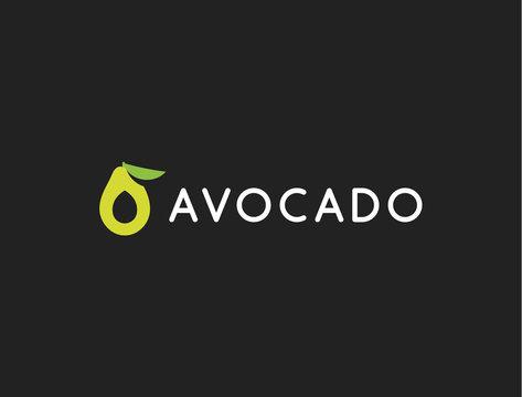 Avocado logo template, vector icon, modern design. Fruit food green illustration on black background.