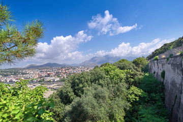 View of the Italian resort town against the backdrop of the moun