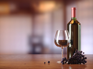 Glass of red wine, glass bottle of wine, grapes, wooden table, blurred restaurant, cafe on background, copy text place.
