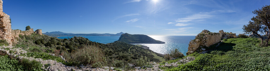 Panorama of Pylos Bay from Old Navarino Castle in Peloponnese, Greece.