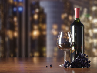 Glass of red wine, glass bottle of wine, grapes, wooden table, blurred lights of skyscrapers on background, copy text place.