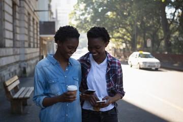 Twins siblings using mobile phone while walking on sidewalk
