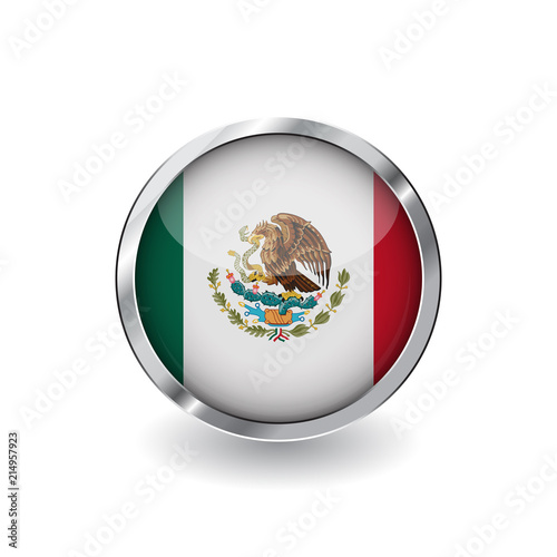 Flag of mexico, button with metal frame and shadow. mexico flag ...