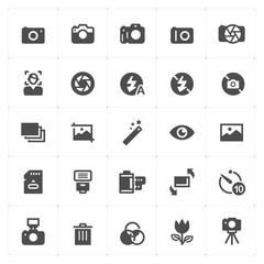 Icon set - camera and photograph filled icon style vector illustration on white background