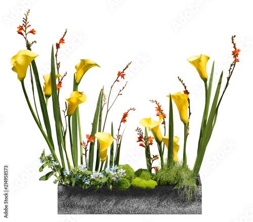 Freigestellter Pflanzkübel in Granit-Optik mit verschiedenen Blumen ...