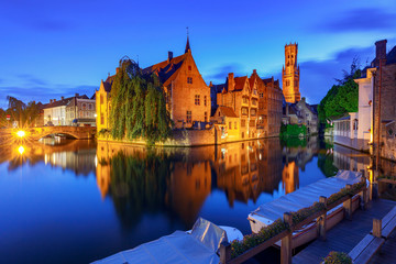 Bruges. City canal in night lighting.