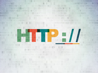 Web design concept: Painted multicolor text Http : / / on Digital Data Paper background