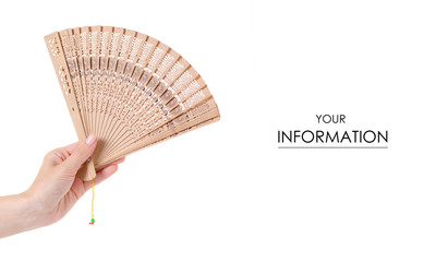 Bamboo fan in hand air pattern on white background isolation