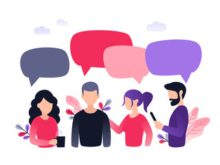 Vector illustration, flat style, group of people discuss social network, news, chat, dialogue speech bubbles. Plant leaves and clouds on the background.