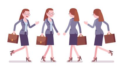 Female teacher walking and running