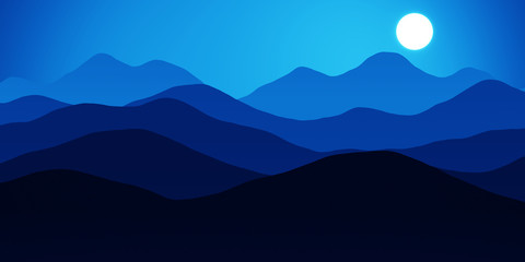 Simple landscape with mountains over sun, panorama scale ratio 8:4