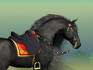 Dark Horse - A Friesian black stallion adorned with fancy Classic saddle and bridle horse tack.