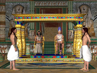 Egyptian Throne Room - The Egyptian Pharaoh and his Queen sit on the throne in the Old Kingdom of Egypt's history.