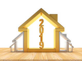 Growth in real estate concept. Golden and silver house icons of various sizes with number 2019 inside. 3D illustration