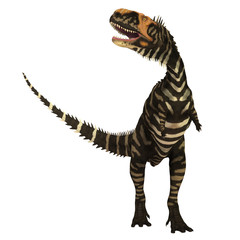 Rajasaurus Dinosaur on White - Rajasaurus was a carnivorous theropod dinosaur that lived in India during the Cretaceous Period.