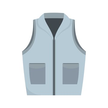 Grey vest icon. Flat illustration of grey vest vector icon for web isolated on white