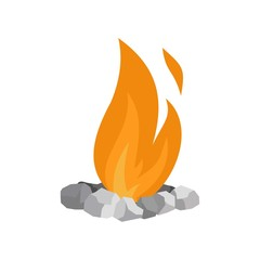 Fire in stones icon. Flat illustration of fire in stones vector icon for web isolated on white