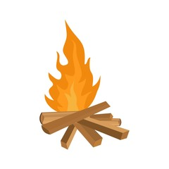 Small woods fire icon. Flat illustration of small woods fire vector icon for web isolated on white